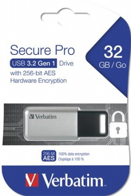"Pendrive, 32GB, USB 3.0, 100/35MB/sec, PC & MAC, GDPR, VERBATIM ""SECURE DATA PRO"", szürke"